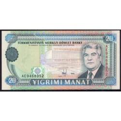 Turkmenistán 20 Manat Pk 4b (1.995) S/C