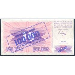 Bosnia-Herzegovina 100.000 Dinares PK 34a (1-9-1.993) S/C