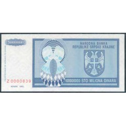 Croacia (Krajina) 100 Millones de Dinares Pk R15 (1.993) S/C