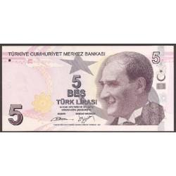 Turquía 5 Liras PK Nuevo (2.013) S/C