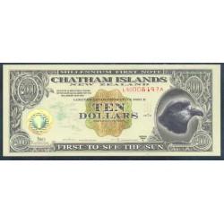 Islas Chatham 10 Dólares (1.999) Holograma de Oro S/C