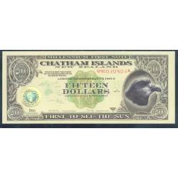 Islas Chatham 15 Dólares (1.999) Holograma de Oro S/C