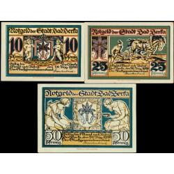 Berka, Bad 10, 25 y 50 Pfennig (20-8-1.920) KL 74 S/C-