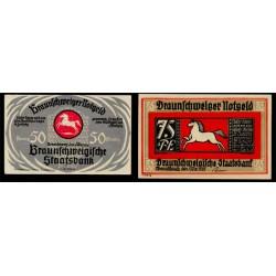 Braunshweig 50 y 75 Pfennig (1-5-1.921) KL 147c Lote 2 de 2 S/C-