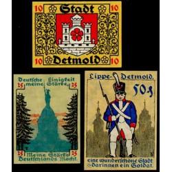 Detmold 10, 25 y 50 Pfennig (Agosto de 1.920) KL 259a S/C-