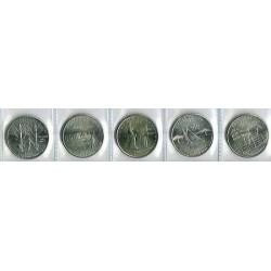 Estados Unidos (Estados) 2001 Letra D 5 valores (1/4 Dólar de N.York, Carolina del N., Kentucky, Rhode Island y Vermont) S/C