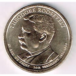 Estados Unidos 1 dólar Presidentes 2013 P .Theodore Roosevelt (26) S/C