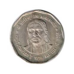 India 1998 2 Rupias (Sir Aurobindo) S/C