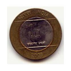 India 2008 10 Rupias (Bimetálica) S/C