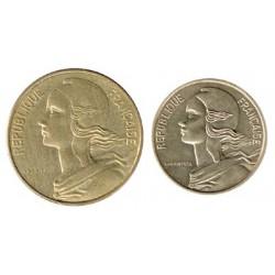 Francia 1974 - 1986 Tira 2 Valores (5 y 10 Céntimos) S/C-