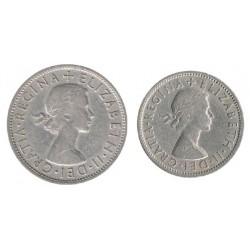 Gran Bretaña 1955 -1962 2 valores (2 Chelines y 1/2 Corona) MBC