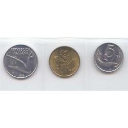 Italia 1982 - 1995 3 valores (5,10 y 20 Liras) S/C