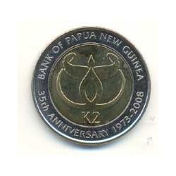 Papúa Nueva Guinea 2008 2 Kina Bimetálica (35 Aniv. Banco Nac.) S/C