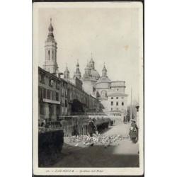 "L.Roisín Postal b/n ""Jardines del Pilar-Zaragoza""· 1934 MBC+"