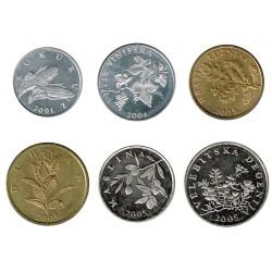 Croacia2001 - 2005 6 valores (1,2,5,10,20 y 50 Lipas) S/C
