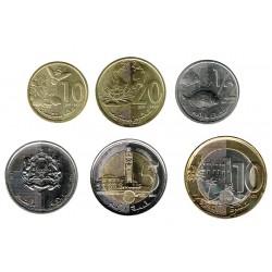 Marruecos 2011-2013 6 valores (10 y 20 Santimat. 1/2,1,5 y 10 Dirham) S/C