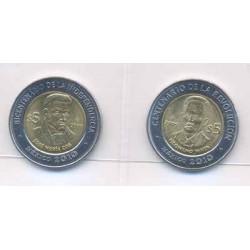 Méjico 2010 2 valores de 5 Pesos Bimetálica (Presidentes) S/C