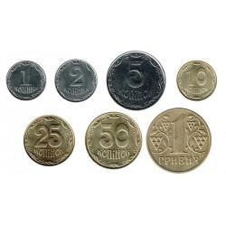 Ucrania 1992 - 2009 7 valores (1,2,5,10,25 y 50 Kopiyok y 1 Hryvnia) S/C