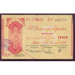 5 Ptas Bilbao 1936 BC+ Serie A.