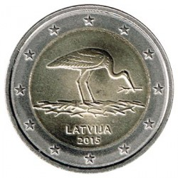 Letonia 2015 2 Euros. Cigüeña Negra S/C