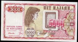 Macedonia 5.000 Dinares PK 7 (1.992) S/C