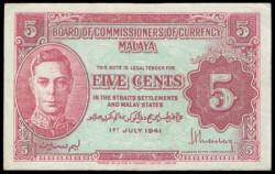 Malaya 1 Cent PK 6 (1-7-1.941) MBC+