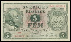 Suecia 5 Coronas PK 41a (1.948) S/C-