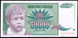 Yugoslavia 50.000 Dinares PK 117 (1.992) S/C