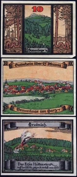 Braunlage 10, 25 y 50 Pfennig (31-12-1.921) KL 145 S/C-