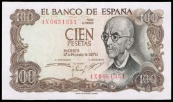 100Ptas 1970 Manuel de Falla EBC+