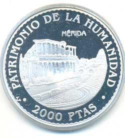 2.000 pesetas plata 1996 Patrimonio Mundial. Mérida PROOF