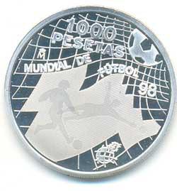 1000 pesetas plata 1998 Mundial de Futbol Francia 98 PROOF