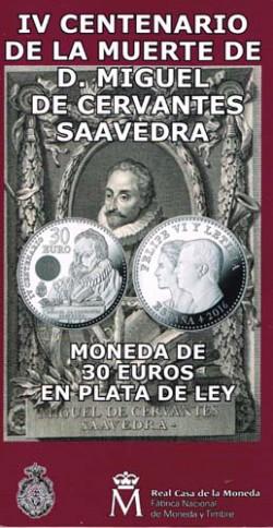 España 2016 Cartera Oficial Circulante Plata 30 Euros Plata Cervantes S/C