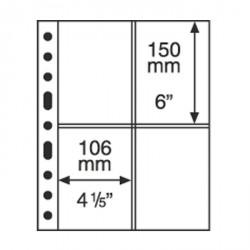 Hojas de plástico GRANDE, 4 divisiones para Tarjetas Postales, transparentes