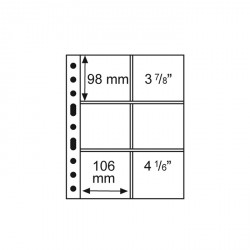 Hojas de plástico GRANDE, con 6 Estuches, 106x98 mm, transparentes