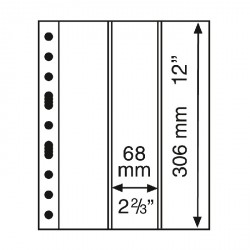 Hojas de plástico GRANDE con 3 Bandas verticales transparentes