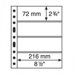 Hojas de plástico GRANDE, con 4 Bandas horizontales, transparentes