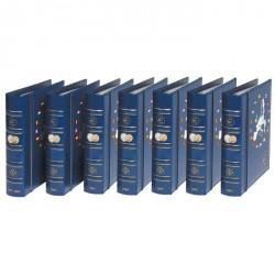 7 álbunes VISTA anuales para monedas de euro (2008-2014), con cajetín protector, azul