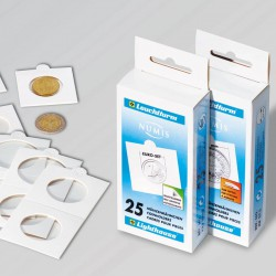 Cartones de monedas MATRIX, blanco, diámetro 37,5 mm, autoadheivos, 25 unidades