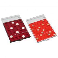 Bandeja para monedas 120 divisiones redondas de 16,5 mm Ø, color humo