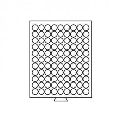 Bandeja para monedas 99 divisiones redondas de 19,25 mm Ø, color humo
