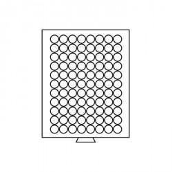 Bandeja para monedas 88 divisiones redondas de 21,5 mm Ø, color humo