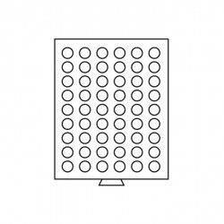 Bandeja para monedas 54 divisiones redondas de 24,5 mm Ø, color humo