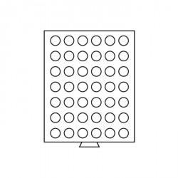 Bandeja para monedas 42 divisiones redondas de 27,5 mm Ø, color humo