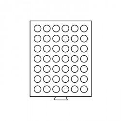 Bandeja para monedas 42 divisiones redondas de 29 mm Ø, color humo