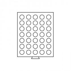 Bandeja para monedas 35 divisiones redondas de 31 mm Ø, color humo
