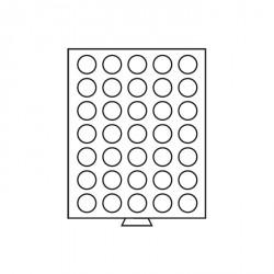 Bandeja para monedas 35 divisiones redondas de 32,5 mm Ø, color humo