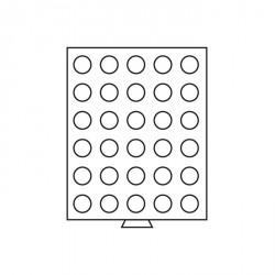 Bandeja para monedas 30 divisiones redondas de 33 mm Ø, color humo