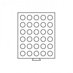 Bandeja para monedas 30 divisiones redondas de 34 mm Ø, color humo