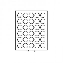 Bandeja para monedas 30 divisiones redondas de 36 mm Ø, color humo